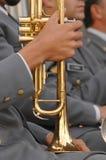 Nahes hohes der Trompete stockfoto