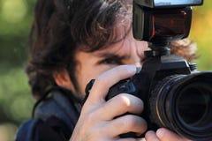 Nahes hohes des Fotografen Stockbild