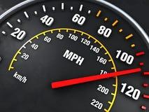 Nahes hohes des Geschwindigkeitsmessers Stockfotos