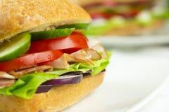 Nahes hohes des Sandwiches Stockfoto