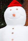 Nahes hohes des Schneemanns Stockfoto