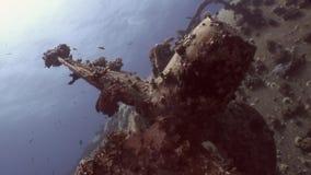 Nahes hohes Schiffswrack Salem Express der Schraube auf dem Meeresgrund Unterwasser in Ägypten stock footage