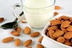 Nahrhafte Mandelsamen in einer Schüssel und in einer Schale Milch auf Weiß lizenzfreie stockfotografie
