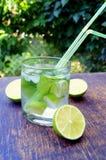 Nahrhaftes Detoxwasser mit Kalk und Minze in einem Glas auf dem hölzernen Hintergrund Lizenzfreie Stockbilder