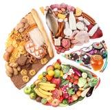 Nahrung für eine ausgewogene Diät in Form von Kreis. Lizenzfreie Stockbilder