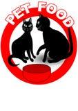 Nahrung- für Haustiereschild oder Produktaufkleber mit der Karikatur mit zwei schwarzen Katzen, aminals im roten Kreis Lizenzfreie Stockbilder