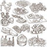 Nahrung Freehands, Hand gezeichnete Sammlung Linie Kunst lizenzfreie abbildung