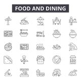 Nahrung und speisen Linie Ikonen, Zeichen, Vektorsatz, Entwurfsillustrationskonzept lizenzfreie abbildung