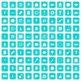 100 Nahrungsikonen stellten Schmutz blau ein Stockfoto