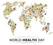 Nahrungslebensmittel für gesundes Leben, Weltgesundheitstag Lizenzfreies Stockbild