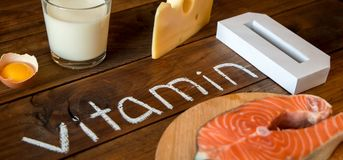 Nahrungsmittel enthalten und reich in Vitamin D stockbilder