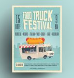 Nahrungsmittel-LKW-Festivalplakat, Flieger, Straßennahrungsmittelschablonenentwurf lizenzfreie stockbilder