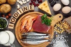 Nahrungsmittel reich im Jod lizenzfreies stockfoto