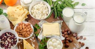Nahrungsmittel reich im Kalzium Nahrung der gesunden Diät stockfoto