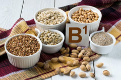 Nahrungsmittel reich im Vitamin B1 Stockfoto