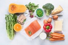 Nahrungsmittel reich im Vitamin A stockfotografie