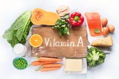 Nahrungsmittel reich im Vitamin A stockfotos