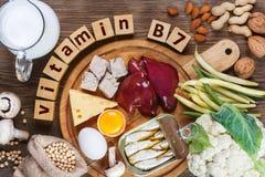 Nahrungsmittel reich in Vitamin B7 Biotin lizenzfreie stockbilder