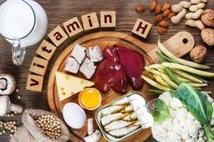 Nahrungsmittel reich in Vitamin H Biotin stockbild