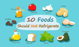 10 Nahrungsmittel sollten nicht kühlen Lizenzfreies Stockbild