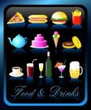 Nahrungsmittel-u. Getränk-Ikonen - Vektor/Eps8 Stockfotos