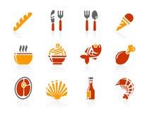 Nahrungsmittel- und Gaststätteikonen | Sonnenschein-Hotelserie Lizenzfreies Stockbild