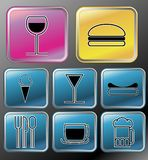 Nahrungsmittel-und Getränk-Ikonen Stockbild