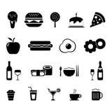 Nahrungsmittel-und Getränk-Ikonensatz Stockfoto