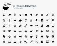 60 Nahrungsmittel-und Getränkepixel-perfekte Ikonen Lizenzfreie Stockfotografie