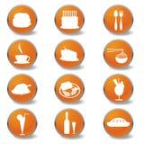 Nahrungsmittel- und Getränkeweb-Ikonen Stockfoto