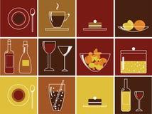 Nahrungsmittel- und Getränkikonen Stockfoto