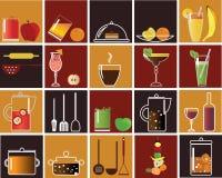 Nahrungsmittel- und Getränkikonen Lizenzfreie Stockfotos