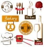 Nahrungsmittel- und Getränkikonen Stockfotografie