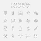 Nahrungsmittel- und Getränkikonenset Stockfoto