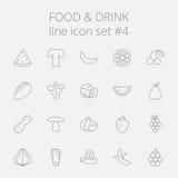 Nahrungsmittel- und Getränkikonenset Stockfotos