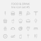 Nahrungsmittel- und Getränkikonenset Lizenzfreies Stockfoto