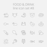 Nahrungsmittel- und Getränkikonenset Stockfotografie