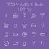 Nahrungsmittel- und Getränkikonenset Lizenzfreie Stockfotos