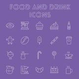 Nahrungsmittel- und Getränkikonenset Lizenzfreie Stockfotografie