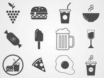 Nahrungsmittel und Getränkvektorikonenzeichensymbol stock abbildung