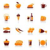 Nahrungsmittel- und Getränkikonen Stockbilder