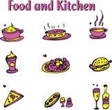 Nahrungsmittel- und Kücheemblemikonen eingestellt Stockbild