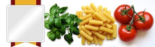 Nahrungsmittelfahne oder -vorsatz Stockbild