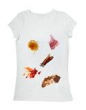 Nahrungsmittelflecke auf einem T-Shirt Stockfotos