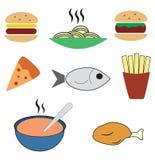 Nahrungsmittelgesetzte Farbe Stockfotos