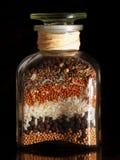 Nahrungsmittelglas mit Startwerten für Zufallsgenerator Stockfoto