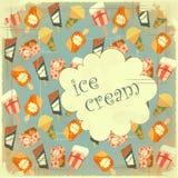 Nahrungsmittelhintergrund - Eiscreme-Weinlesekarte Stockbild