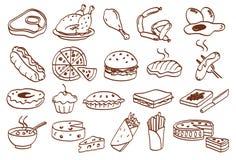Nahrungsmittelikonen Stockfoto
