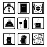 Nahrungsmittelikonen eingestellt stockbilder