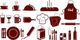 Nahrungsmittelikonen-Set Stockbild